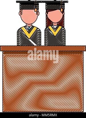 graduates man and woman in podium speak vector illustration - Stock Photo