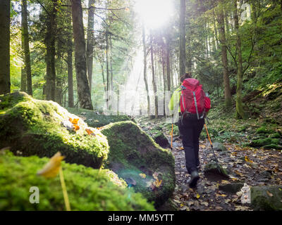 Woman on hiking tour in the Northern Black Forest, Monbachtal, 'Bad Liebenzell', Baden-Württemberg, Germany - Stock Photo