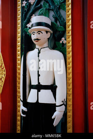 European style door guards at Buddhist temple Wat Ratchabophit in Bangkok in Thailand in Southeast Asia Far East. Buddhism Art Travel - Stock Photo