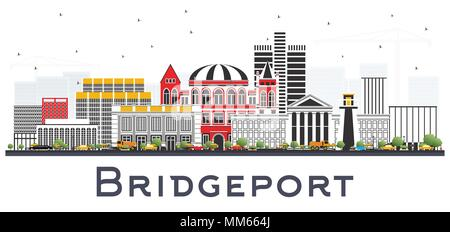 Bridgeport Connecticut City Skyline with Color Buildings Isolated on White. Vector Illustration. - Stock Photo