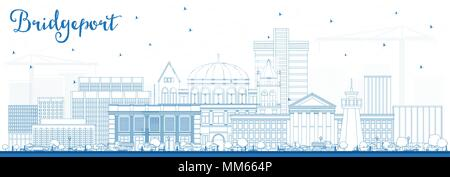 Outline Bridgeport Connecticut City Skyline with Blue Buildings. Vector Illustration. Business Travel and Tourism Concept with Historic Architecture.  - Stock Photo