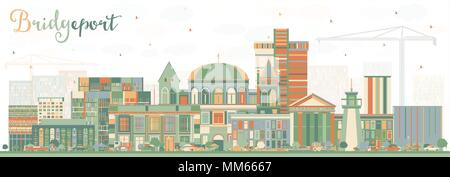 Bridgeport Connecticut City Skyline with Color Buildings. Vector Illustration. Business Travel and Tourism Concept with Historic Architecture. - Stock Photo