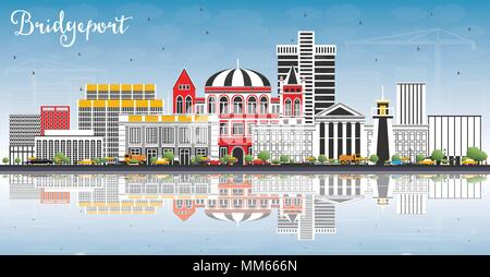 Bridgeport Connecticut City Skyline with Color Buildings, Blue Sky and Reflections. Vector Illustration. - Stock Photo