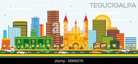 Tegucigalpa Honduras City Skyline with Color Buildings and Blue Sky. Vector Illustration. - Stock Photo
