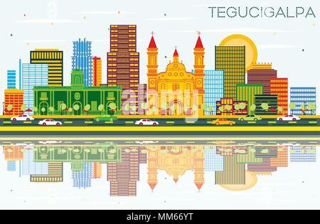 Tegucigalpa Honduras City Skyline with Color Buildings, Blue Sky and Reflections. Vector Illustration. - Stock Photo