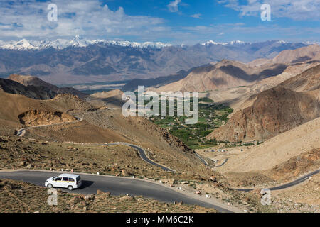 Khardung la Pass on the way between Leh and Nubra valley in Ladakh, India - Stock Photo