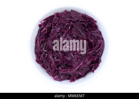 Sliced red cabbage from above bowl isolated on a white background - Stock Photo