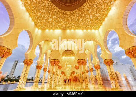 Sheikh Zayed Grand Mosque Abu Dhabi columns United Arab Emirates UAE - Stock Photo