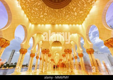 Sheikh Zayed Grand Mosque Abu Dhabi columns United Arab Emirates UAE - Stock Photo