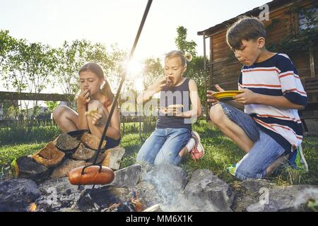 Children enjoy campfire. Siblings (family) toasting sausages on the garden at sunset. - Stock Photo