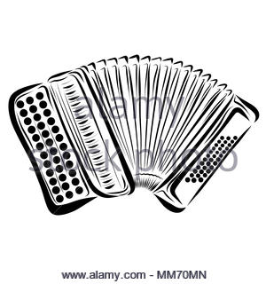 Accordion, drawn with black lines and dots - Stock Photo