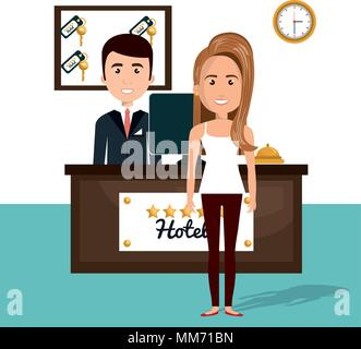 young woman in the hotel reception character scene - Stock Photo