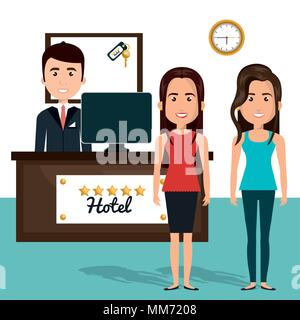 young women in the reception hotel character scene - Stock Photo