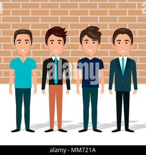 young men in the wall characters scene - Stock Photo