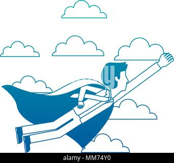 superhero businessman flying with cape successful - Stock Photo