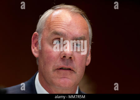 Washington, USA. 10th May, 2018. United States Secretary of the Interior Ryan Zinke testifies to Congress testifies before the Senate Appropriations Committee during a hearing on the Fiscal Year 2019 budget on Capitol Hill in Washington, DC on May 10, 2018. Credit: The Photo Access/Alamy Live News - Stock Photo
