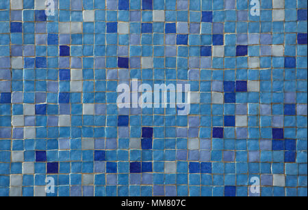 Blue mosaic tiles. Background texture. - Stock Photo
