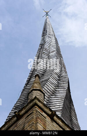 Chesterfield's famous crooked spire on St Mary's Parish Church - Stock Photo