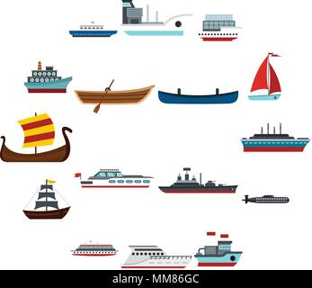 Sea transport set flat icons - Stock Photo