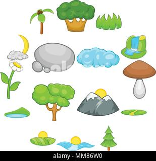 Landscape icons set, cartoon style - Stock Photo