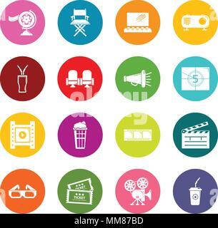 Cinema icons set colorful circles vector - Stock Photo