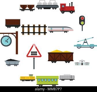 Railway set flat icons - Stock Photo