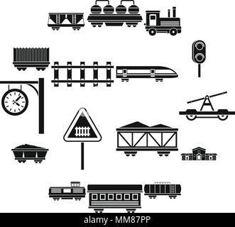 Railway icons set, simple style - Stock Photo