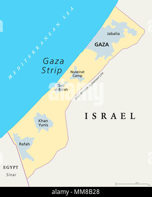 Gaza Strip political map. Self governing Palestinian territory on the coast of Mediterranean Sea that borders to Israel and Egypt. - Stock Photo