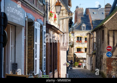 Old Town Street  in Honfleur, Normandy, France, Europe - Stock Photo