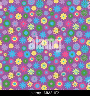 Cute Floral pattern in the small flower. Ditsy print . Seamless vector texture. Elegant template for fashion prints. Printing with very small colorful flowers. Purple background - Stock Photo