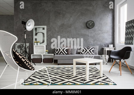 Spacious classic living room in black and white. Interior designed with style - Stock Photo