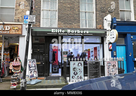 Elite Barbers exterior view of Turkish Barber shop on Marchmont Street in London WC1 England UK  KATHY DEWITT - Stock Photo