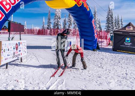 International Velocity races at the famous international ski resort of Sun Peaks in beautiful British Columbia, Canada - Stock Photo