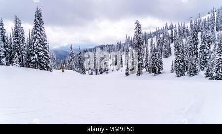 A beautiful scenery of the winter landscape of the famous Sun Peaks ski resort in British Columbia, Canada - Stock Photo