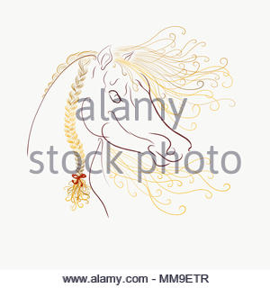 The horse's head with a fluffy mane and bright oblique painted graceful lines with swirls - Stock Photo
