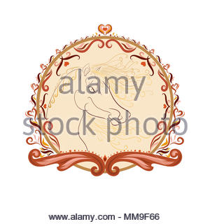The horse's head with a fluffy mane and bright oblique painted graceful lines with swirls in an elegant round frame - Stock Photo