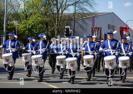 6th May 2018, Manchester UK. Drummers of the County Flute Band of Motherwell front the musicians taking part in the Apprentice Boys of Derry parade. - Stock Photo
