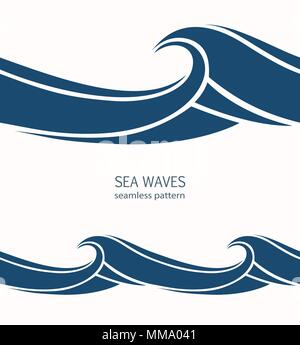 Marine seamless pattern with stylized blue waves on a light background. Water Wave abstract design.  - Stock Photo