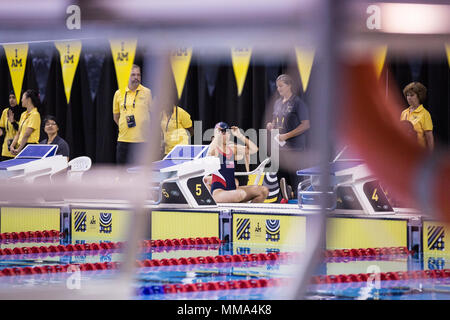 U.S. Airforce Cpt. Christy Wise attends the Swimming event during the Invictus Games at the Air Canada Centre (ACC), Toronto, Canada, Sept. 28, 2017. Invictus Games, September 23-30, is an international Paralympic-style, multi-sport event, created by Prince Harry of Wales, in which wounded, injured or sick armed services personnel and their associated veterans take part in sports including wheelchair basketball, wheelchair rugby, sitting vollyball, archery, cycling, wheelchair tennis, powerlifting, golf, swimming, and indoor rowing. (U.S. Army photo by Pfc. Seara Marcsis) - Stock Photo