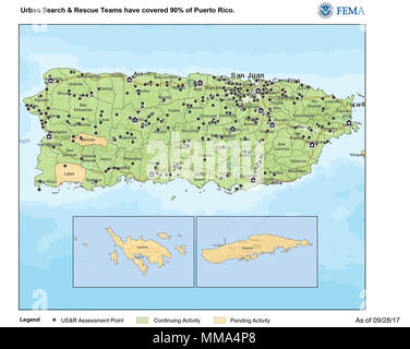 A map showing areas that FEMA Urban Search & Rescue Teams have covered. As of September 28, 2017, US&R teams have covered 90% of Puerto Rico. - Stock Photo