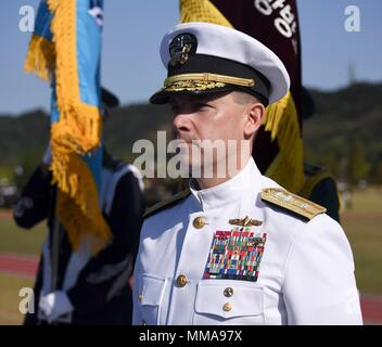 170928-N-TB148-107 PYEONGTAEK, Republic of Korea (Sept. 28, 2017) Rear Adm. Brad Cooper, commander, Naval Forces Korea (CNFK) stands during the 69th annual ROK Armed Forces Day Ceremony. Armed Forces Day commemorates the service of men and women in the ROK armed forces, the day that South Korea broke through the 38th parallel during the Korean War in 1950. Cooper is also presented the Presidential Unit Citation by ROK President Moon, Jae-in, this is the first time a U.S. Navy command is presented this award since the end of the Korean War.  (U.S. Navy photo by Mass Communication Specialist Sea - Stock Photo