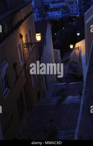 Lisbon alleys in nocturnal cold colors - Stock Photo
