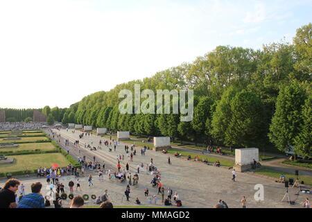 Soviet War Memorial in Treptower Park in Berlin - Stock Photo