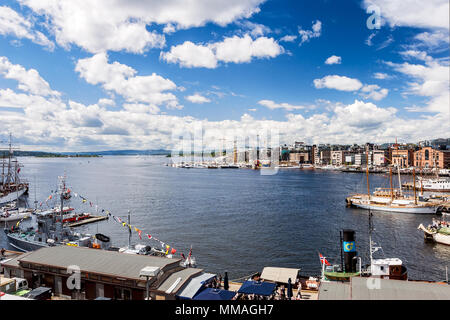 Norway - Oslo, view of the harbour on National Day - Stock Photo