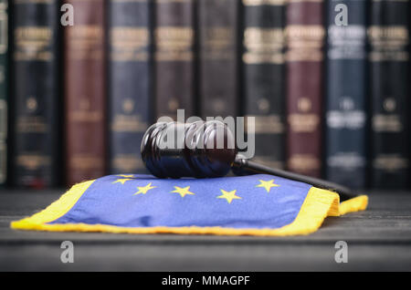 Law and Justice, Legality concept, Law library, Judge Gavel and United States of America flag on a black wooden background. - Stock Photo