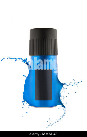 Blue aluminum deodorant spray, bursting paint can with copy space, isolated on a white background. - Stock Photo