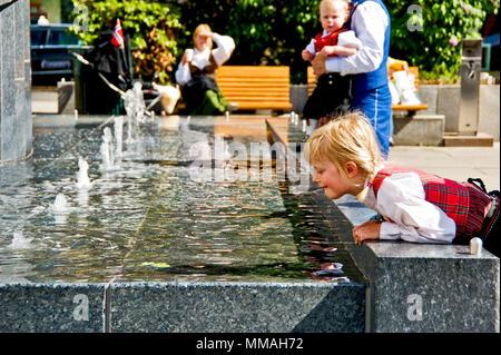 Norway - Oslo, child plays - Stock Photo