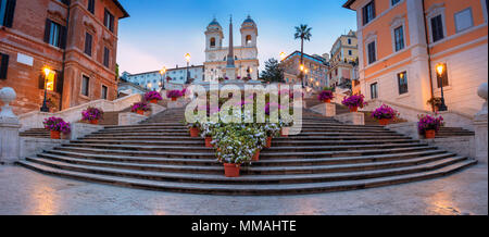 Rome. Panoramic cityscape image of Spanish Steps in Rome, Italy during sunrise. - Stock Photo