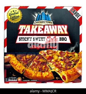 Limited edition Chicago Town takeaway Sticky sweet cola barbecue stuffed crust pizza box - Stock Photo