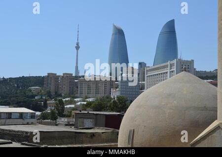 Panoramic view of Baku - the capital of Azerbaijan located by the Caspian Sea shore. Seen from a hammam. - Stock Photo